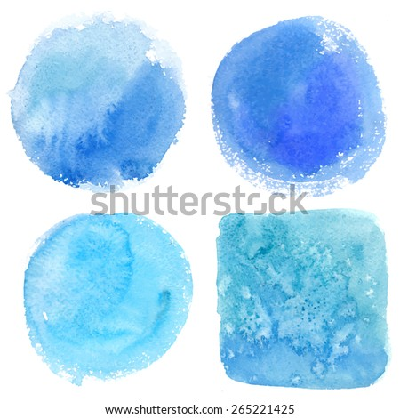 Set watercolor blobs, isolated on white background. Shape design blank watercolor colored rounded shapes web buttons on white background. Vector blue color - stock vector