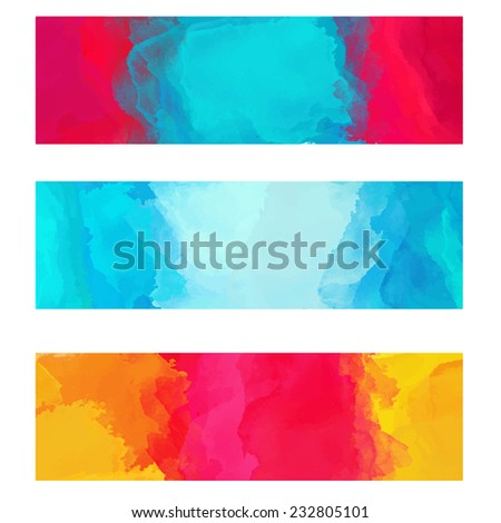 Set watercolor colorful backgrounds. Banners. Frames. Art abstract