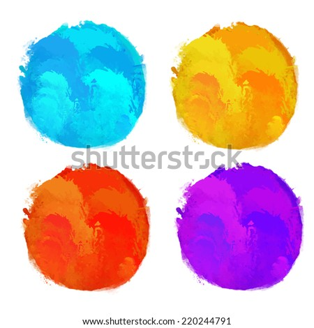 Set watercolor colorful rainbow circle, paint stains isolated on a white background. Art abstract. Frames