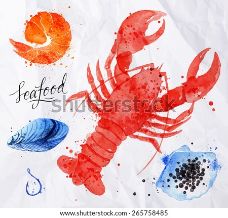 Set watercolor drawn seafood, cancer, caviar, mussels, shrimp, shell, hook on crumpled paper - stock vector