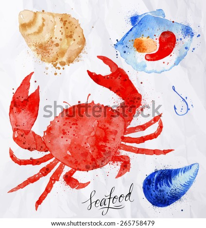 Set watercolor drawn seafood, crab, clams, mussels, oysters, shell, hook on crumpled paper - stock vector