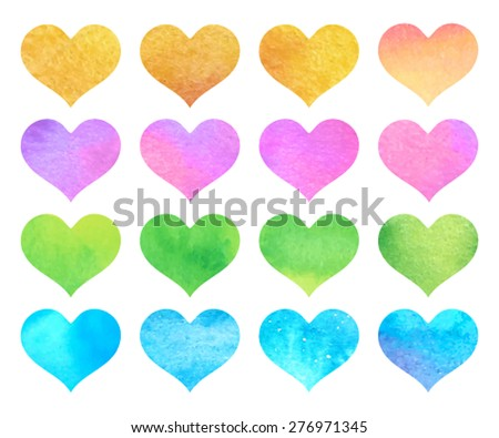 Set watercolor hand drawn paper texture decorative violet, pink, gold, green, blue isolated hearts on white background. Romantic shiny icons for valentine's day, design, card, scrapbook, party, print - stock vector