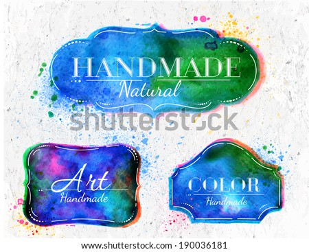 Set watercolor labels design elements, vintage frame handmade aquarelle overlay - stock vector