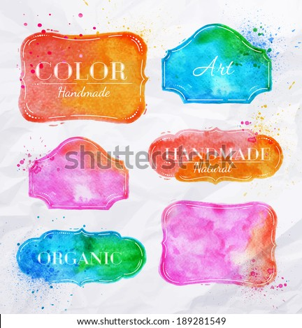 Set watercolor labels design elements, vintage frame handmade aquarelle Vector illustration - stock vector
