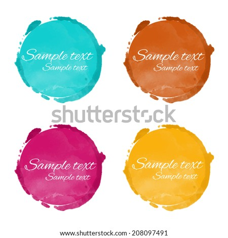 Set watercolor rainbow circle paint stains isolated on a white background. Art abstract. Frames. Space for text - vector  - stock vector