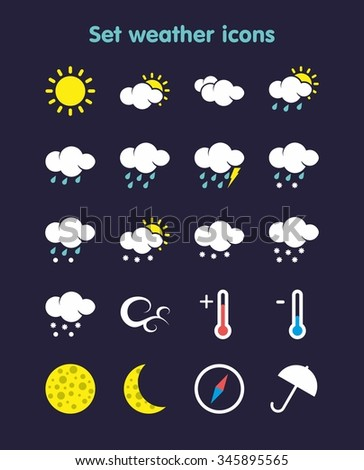 Set weather icons . It can be used in weather forecasts , interfaces , children's books and much more.
