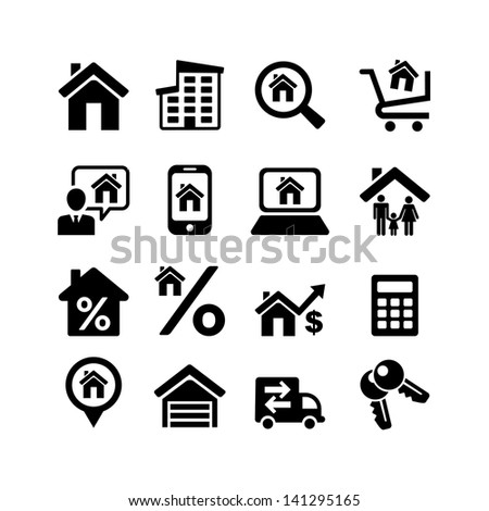 Set 16 web icons. Real Estate - stock vector