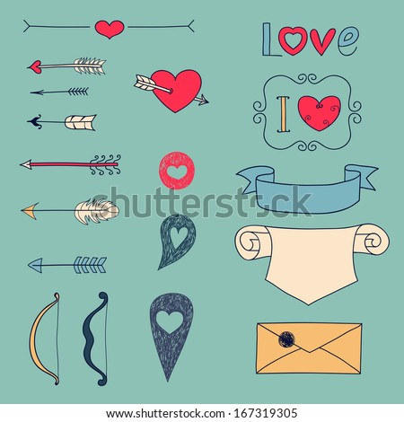 Set Wedding and Valentine's Day design elements in color. Vector illustration. - stock vector