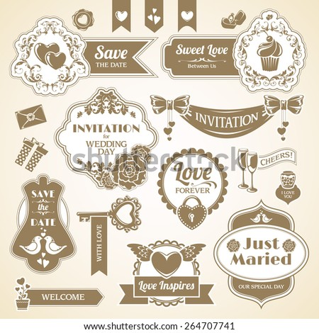 Set Wedding day design elements, frames, stickers icons. Love vintage banners labels collection. Vector illustration.