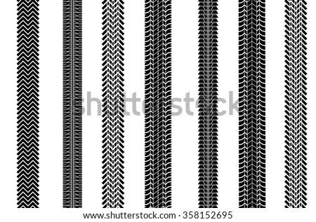 Set wheel track asphalt, vector - stock vector