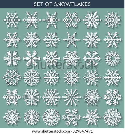 Set 36 white different snowflakes of handmade with long shadow. Snowflake Flat. New Year's symbols. Snowflakes for design. Winter objects. Festive elements. Snowflake Doodle. Snowflake Sketch - stock vector