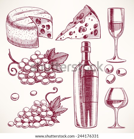 set with a bottle and glasses of wine, bunch of grapes and cheese - stock vector