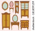 Set with antique furniture. - stock vector