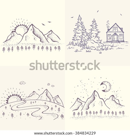 Set with beautiful sketch with house and spruce, mountains with sun and moon. Hand drawn sketch. Stylish vector illustration