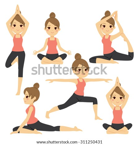 Set with beautiful woman exercising various different yoga poses training - stock vector