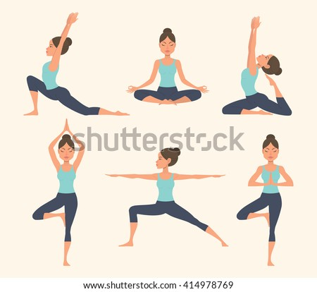 Set with beautiful woman in various poses of yoga. Vector set of yoga illustration. Set of yoga poses. Yoga exercises. Women yoga. Yoga class, yoga center, yoga studio. Yoga poster. Healthy lifestyle. - stock vector