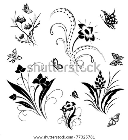 Set with butterflies and flower patterns - stock vector