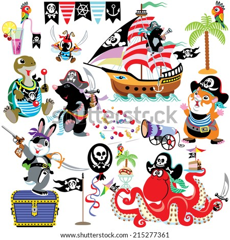 set with cartoon animals celebrating pirate party, isolated pictures for little kids