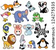 set with cartoon animals for babies and little kids,vector pictures isolated on white background - stock vector