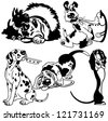 set with cartoon dogs,difference breeds,black white vector pictures isolated on white background - stock photo