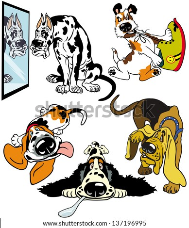set with cartoon dogs,difference breeds,pictures isolated on white background - stock vector
