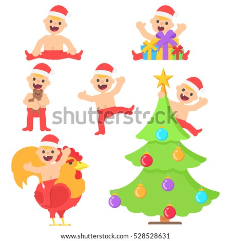 Set with cartoon happy baby boy in christmas santa hat in different poses. Vector kid in flat style illustration isolated on white background