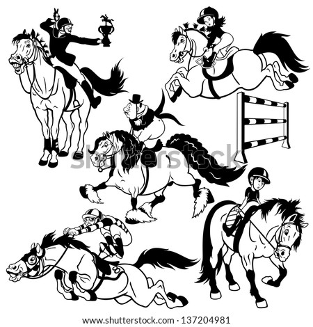 set with cartoon horse riders,equestrian sport,black and white isolated pictures - stock vector