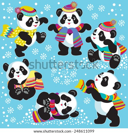 set with cartoon panda in winter time , images for little kids