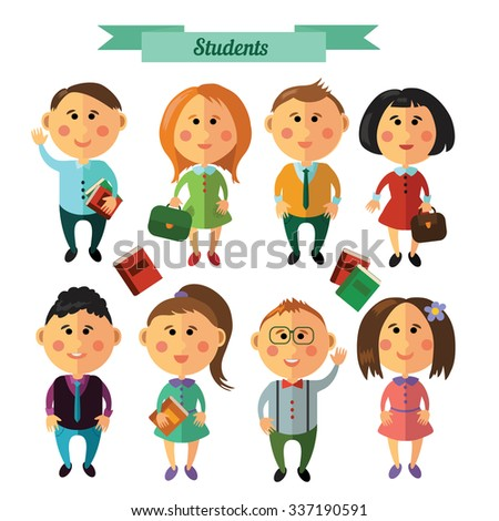 Set with characters, university or students theme. Flat design. Vector. - stock vector