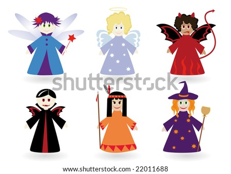 Set with children dressed in fancy dresses - stock vector