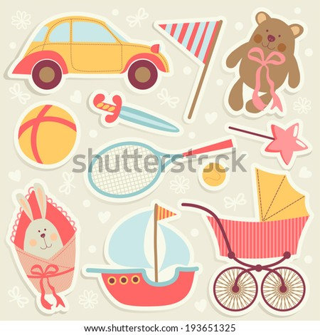 Set with children's toys. - stock vector