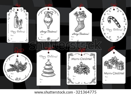 Set with Christmas black and white tags - stock vector