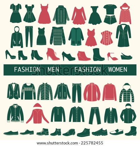 set with collection Icons of Men and Women Fashion  clothing  - stock vector