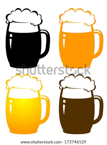 set with colorful beer mugs on white background - stock vector