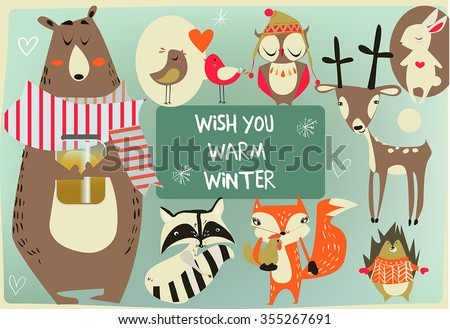 set with cute animals - stock vector