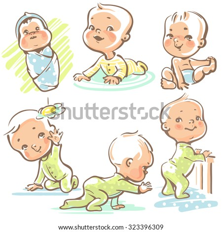 Set with cute baby boys and girls.  Growth from newborn to toddler. First year activities. Crawling, sitting, standing, playing, smiling. Vector Illustration isolated  on white background - stock vector