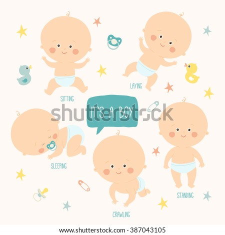 Set with  cute baby boys 0-12 months. Various poses. First year activities. Sleeping, sitting, playing, standing, crawling. Cartoon hand drawn vector Illustration eps 10 illustration isolated on white - stock vector