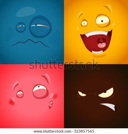 Set with cute cartoon emotions - stock vector