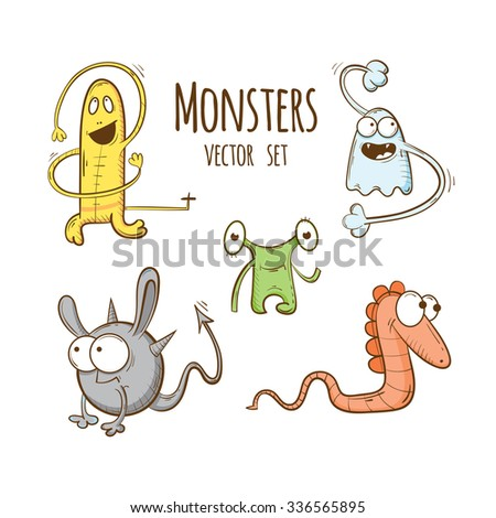 Set with  cute cartoon monsters. Vector image.