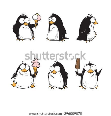 Set with cute cartoon penguins with ice cream. - stock vector