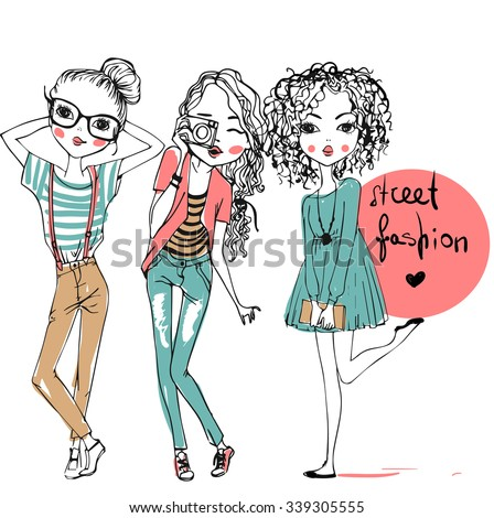 set with cute fashion girls  - stock vector