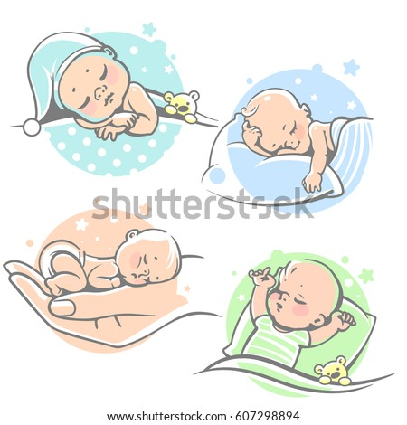 Set Cute Little Baby Sleepingchildren Lying Stock Vector