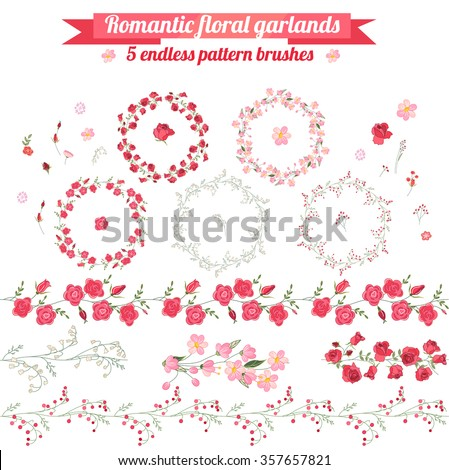 Set with detailed contour wreathes with roses and wild flowers isolated on white. Seamless horizontal pattern brushes. Round frames for your design, bridal greeting cards, wedding announcements.  - stock vector