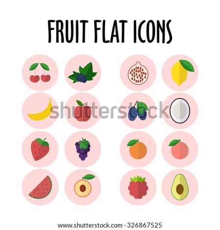 set with different fruits icons,vector illustration - stock vector