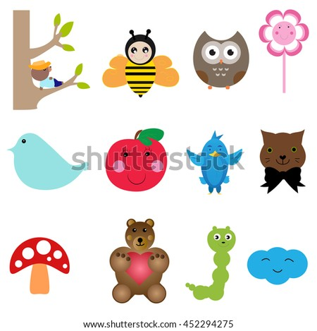 Set with different icons for children