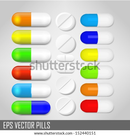 Set with different pills - stock vector