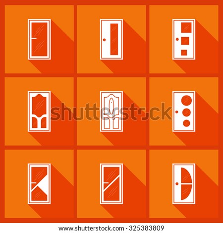 Set with door icons. Flat style with long shadow