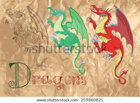 Set with dragons in various styles on grunge paper background, vintage illustration of medieval mythological creatures - stock vector