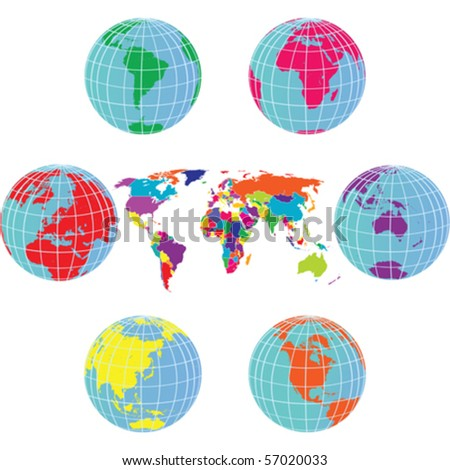Set with Earth globes and world map in different colors - stock vector
