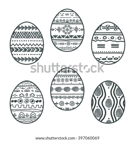 set with Easter patterned eggs. vector illustration